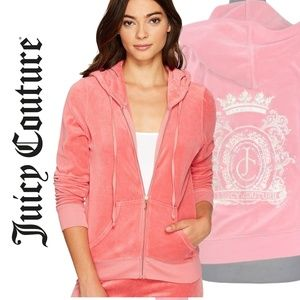 Juicy Couture Strawberry Pink Velour Soft Zip Up Hoodie Loungewear Sweater